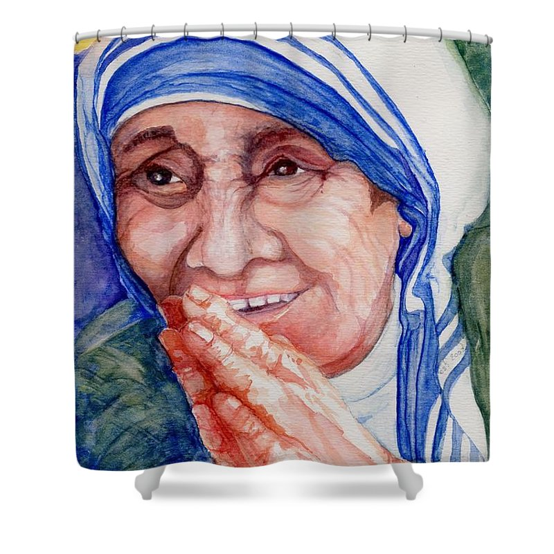 Elle Fagan Shower Curtain featuring the painting Mother Teresa by Elle Smith Fagan