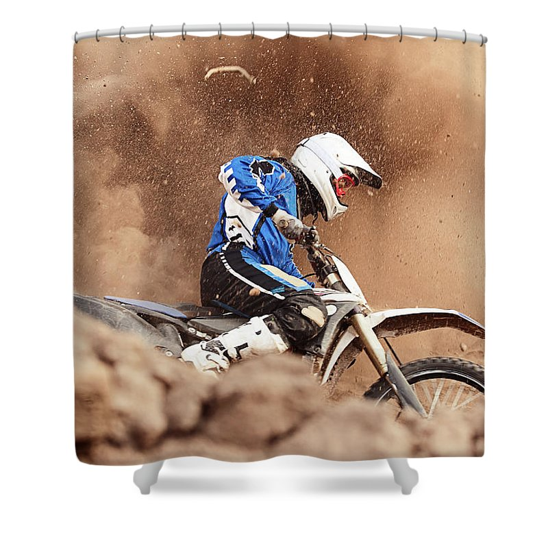 Crash Helmet Shower Curtain featuring the photograph Motocross Biker Taking A Turn In The by Daniel Milchev