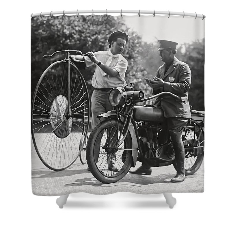 Motorcycle Shower Curtain featuring the photograph Motorcycle And Velocipede - 1921 by Daniel Hagerman