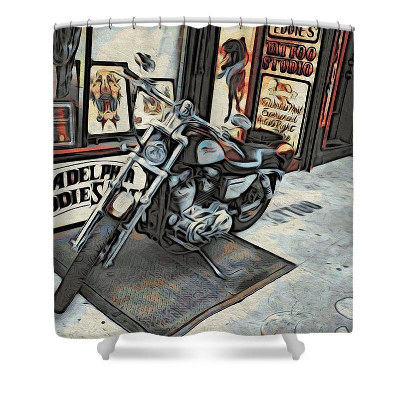 Philadelphia Eddies Shower Curtain featuring the photograph Motorcycle At Philadelphia Eddies by Alice Gipson