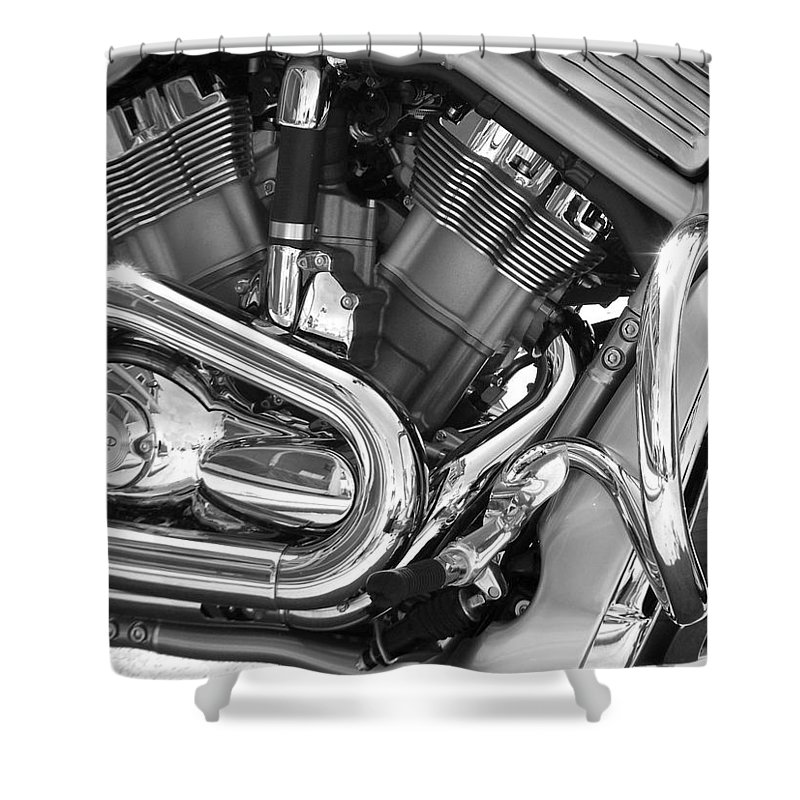 Motorcycles Shower Curtain featuring the photograph Motorcycle Close-up Bw 1 by Anita Burgermeister