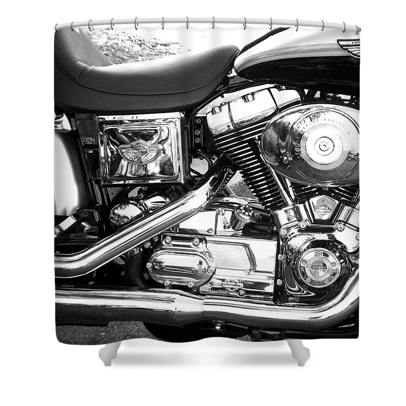 Motorcycles Shower Curtain featuring the photograph Motorcycle Close-up Bw 3 by Anita Burgermeister