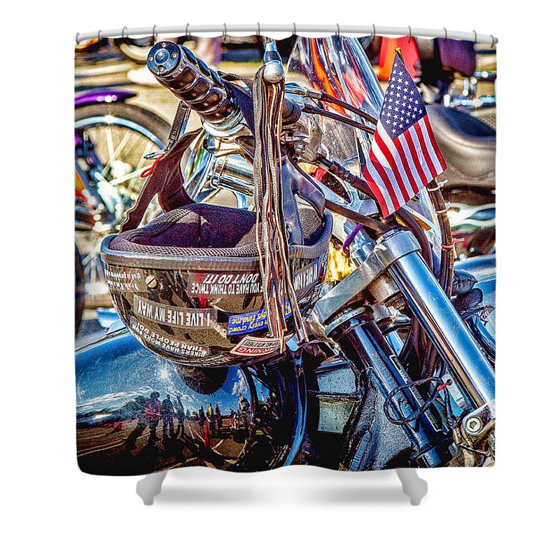 Motorcycles Shower Curtain featuring the photograph Motorcycle Helmet And Flag by Eleanor Abramson