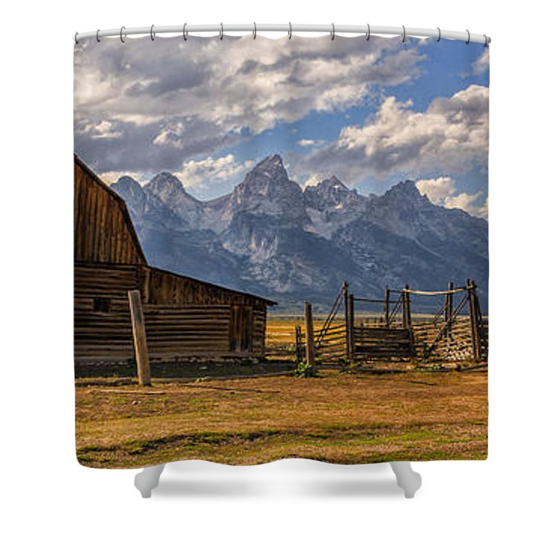 Moulton Barn Grand Teton National Park Shower Curtain featuring the photograph Moulton Barn Panorama - Grand Teton National Park Wyoming by Brian Harig