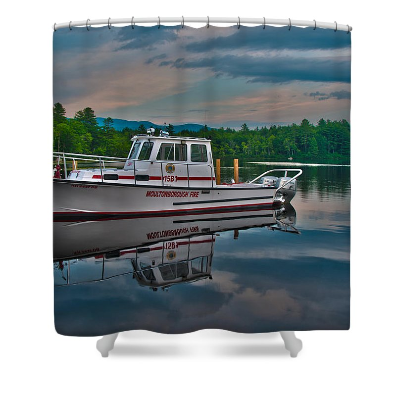 Moultonborough Shower Curtain featuring the photograph Moultonborough Fire Boat by Brenda Jacobs