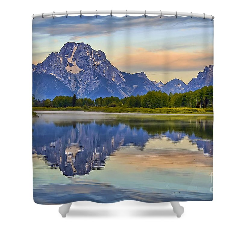 Oxbow Bend Shower Curtain featuring the photograph Mount Moran At Sunrise by Teresa Zieba