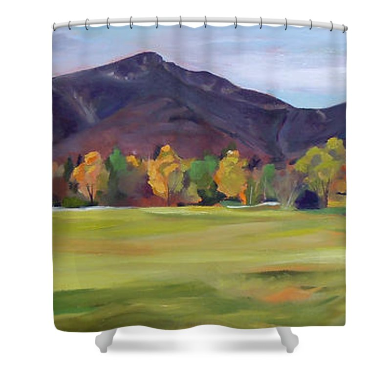 Mountains Shower Curtain featuring the painting Mount Osceola New Hampshire by Nancy Griswold