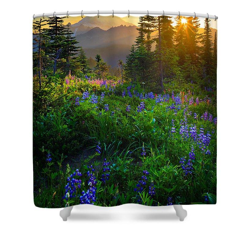 America Shower Curtain featuring the photograph Mount Rainier Sunburst by Inge Johnsson