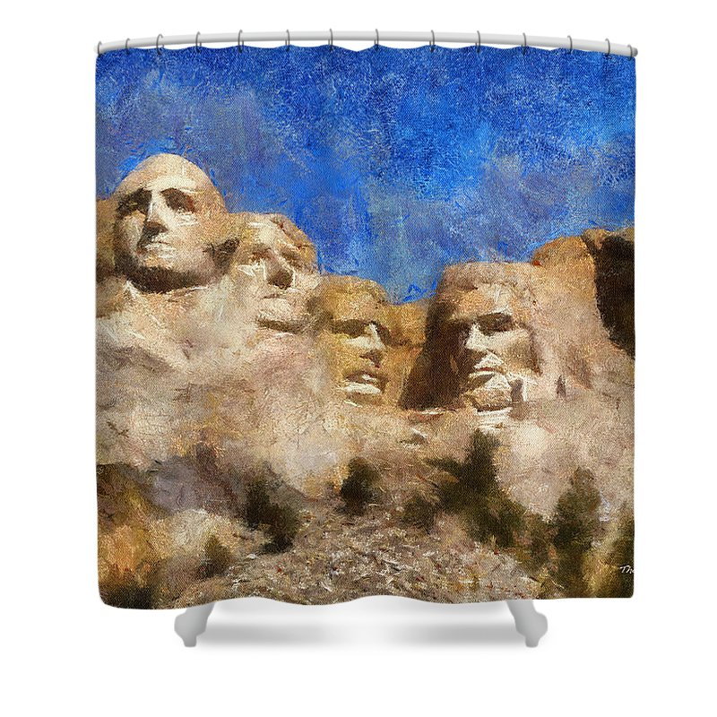 Sculpture Shower Curtain featuring the photograph Mount Rushmore Monument Photo Art by Thomas Woolworth