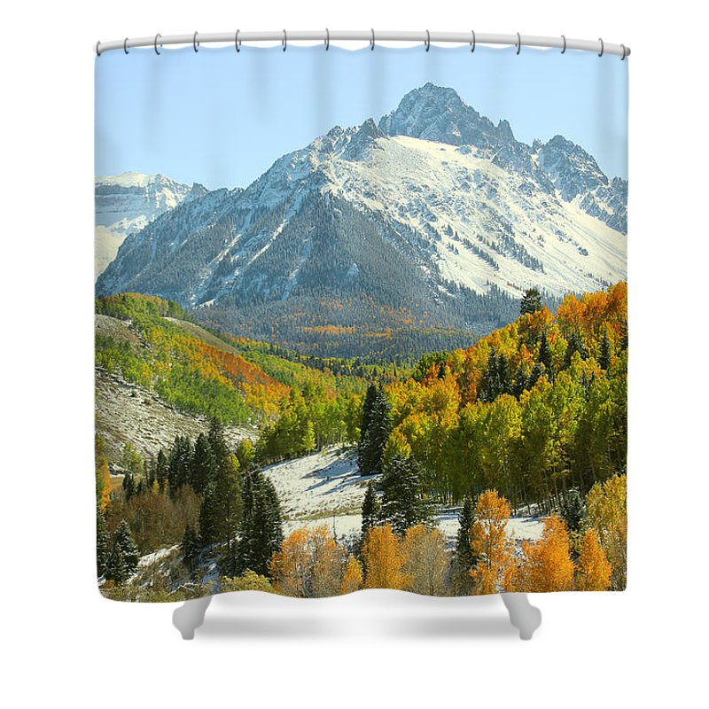 Nature Shower Curtain featuring the photograph Mount Sneffels In Ridgway Colorado by Brett Pfister