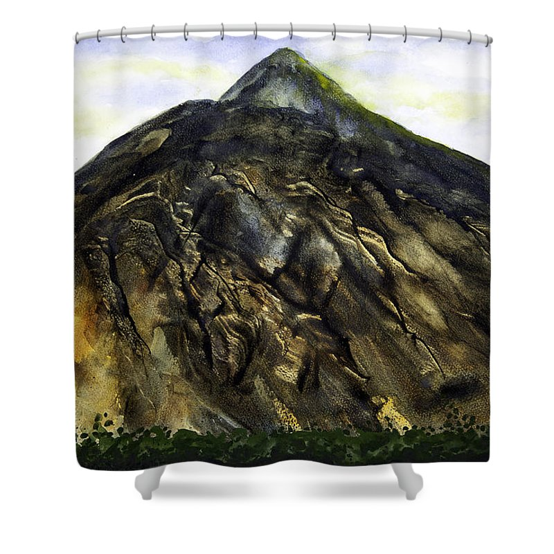 Esthers Prints & Cards Shower Curtain featuring the painting Mount Teide Tenerife by Esther Willsher