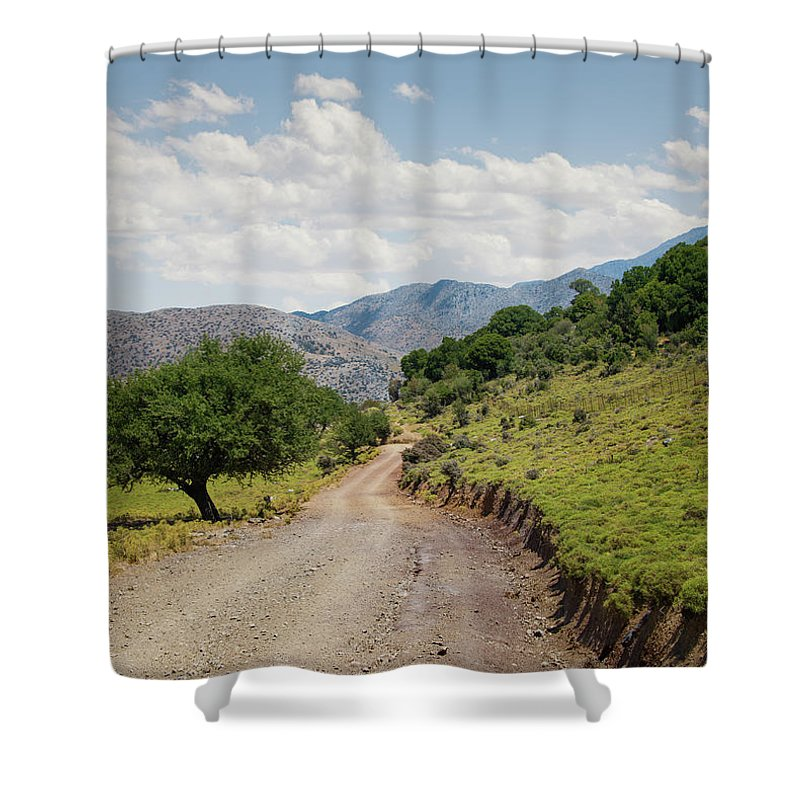 Tranquility Shower Curtain featuring the photograph Mountain Dirt Road In Northern Crete by Ed Freeman
