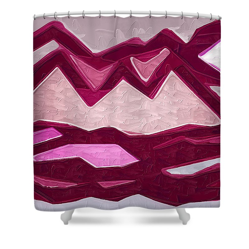 Abstract Shower Curtain featuring the painting Mountain by Kirt Tisdale