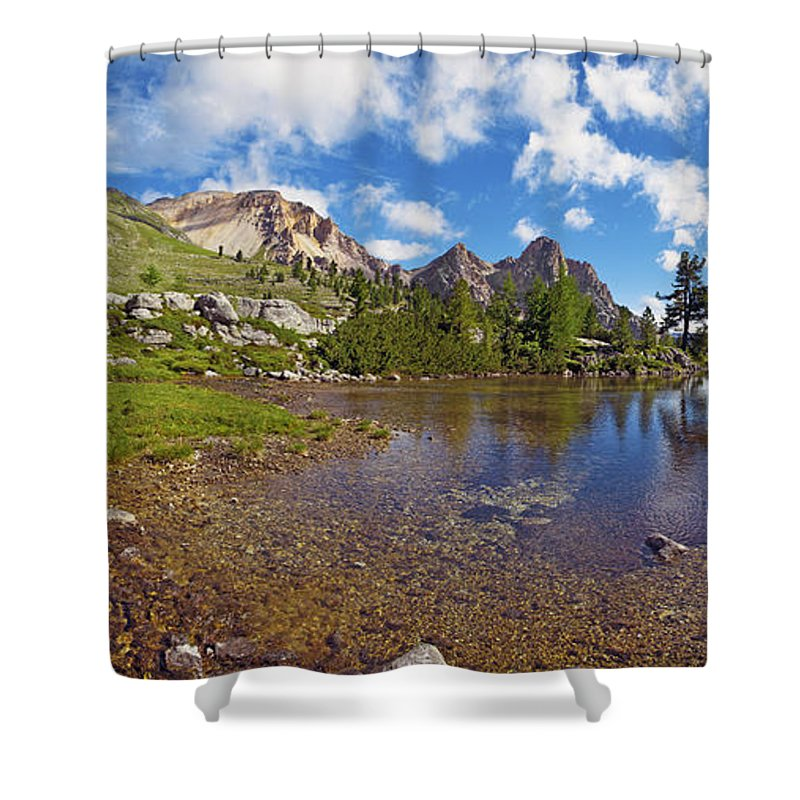 Mountain Lake Shower Curtain featuring the photograph Mountain Lake In The Dolomites by Chevy Fleet