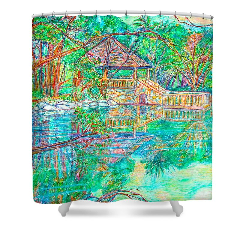 Lake Shower Curtain featuring the painting Mountain Lake Reflections by Kendall Kessler