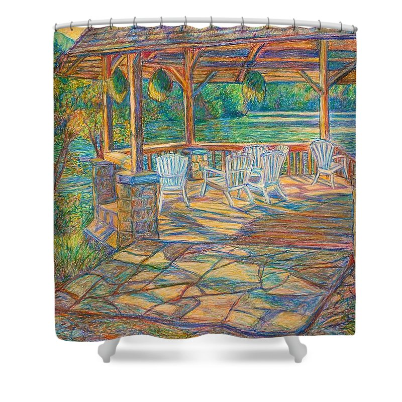 Lake Shower Curtain featuring the painting Mountain Lake Shadows by Kendall Kessler