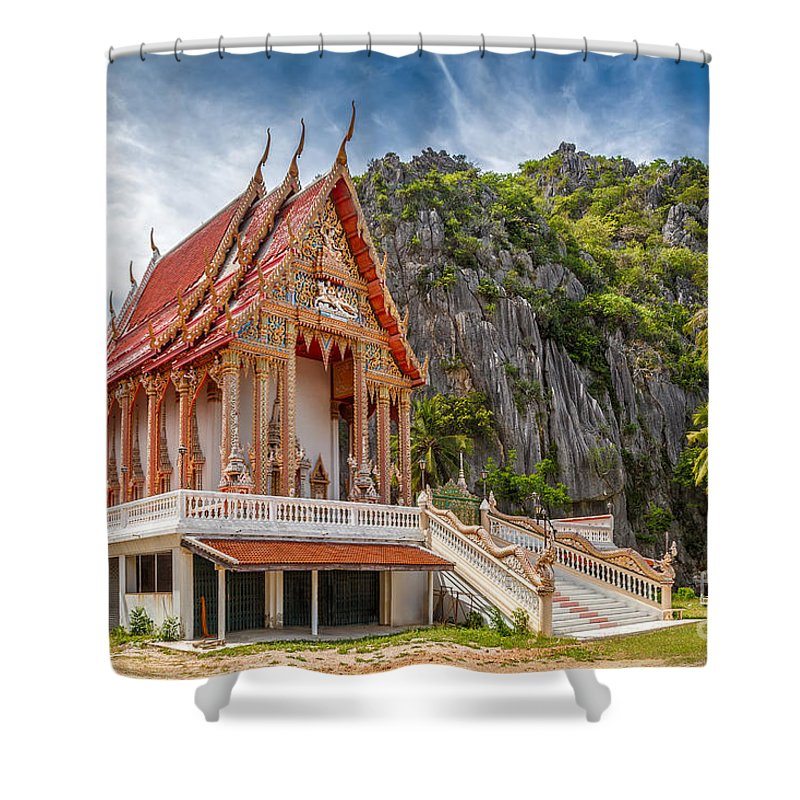Architecture Shower Curtain featuring the photograph Mountain Temple by Adrian Evans