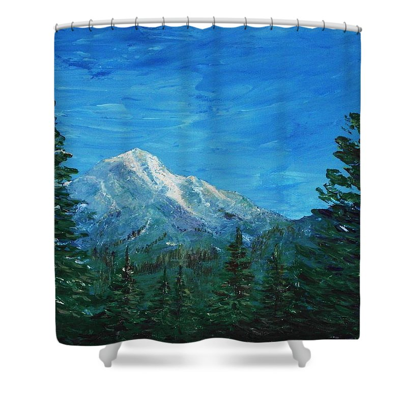 Interior Shower Curtain featuring the painting Mountain View by Anastasiya Malakhova