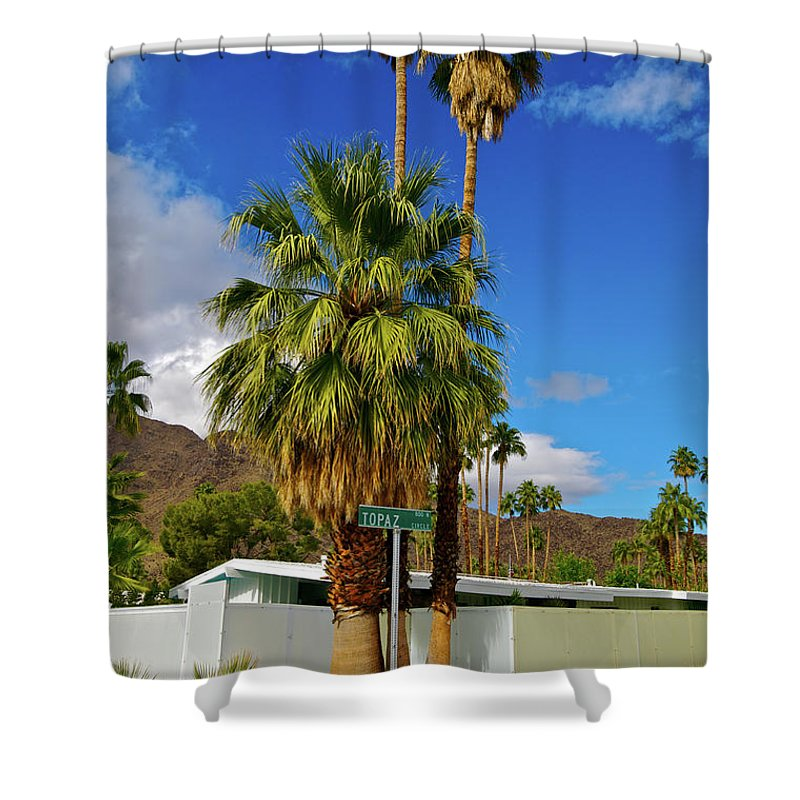 Fan Palm Tree Shower Curtain featuring the photograph Mountains, Plants & Mid-century Home In by Jaylazarin