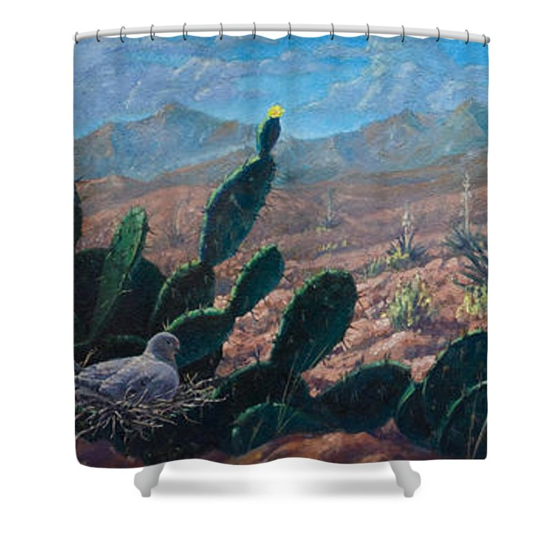 Desert Shower Curtain featuring the painting Mourning Dove Desert Sands by Rob Corsetti