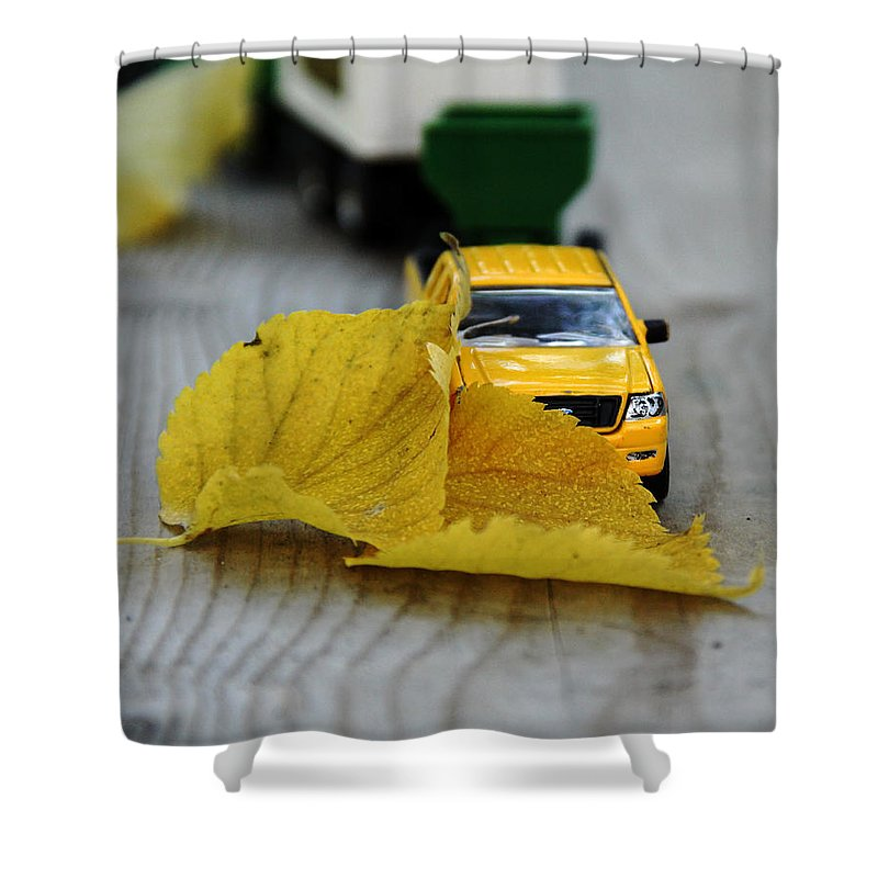 Toy Shower Curtain featuring the photograph Move Those Leaves by Debbie Oppermann
