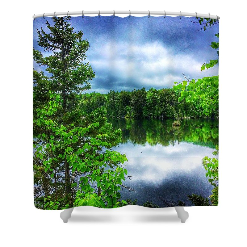 Trees Shower Curtain featuring the photograph Moxie Pond by Nick Heap