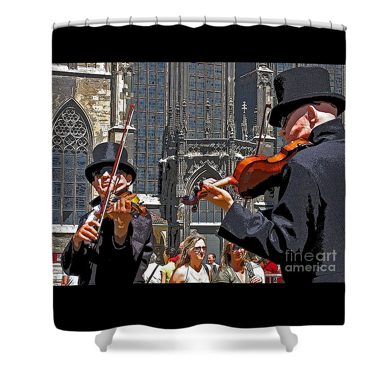 Buskers Shower Curtain featuring the photograph Mozart In Masquerade by Ann Horn