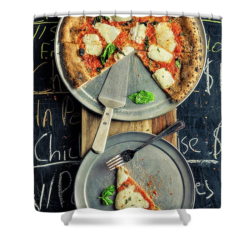 Cheese Shower Curtain featuring the photograph Mozzarella Pizza by Chang