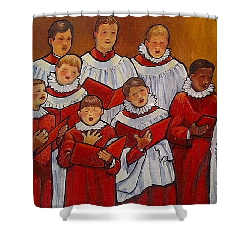 Choir Shower Curtain featuring the painting Mr Jameson's Boys by Christina Clare