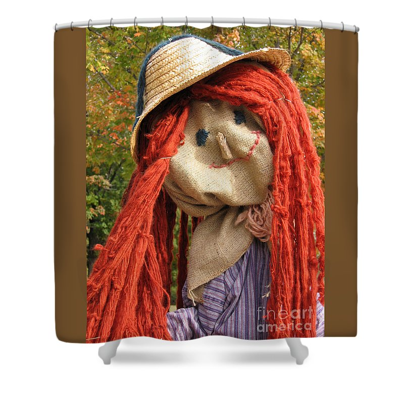 Scarecrow Shower Curtain featuring the photograph Ms Scarecrow by Ann Horn