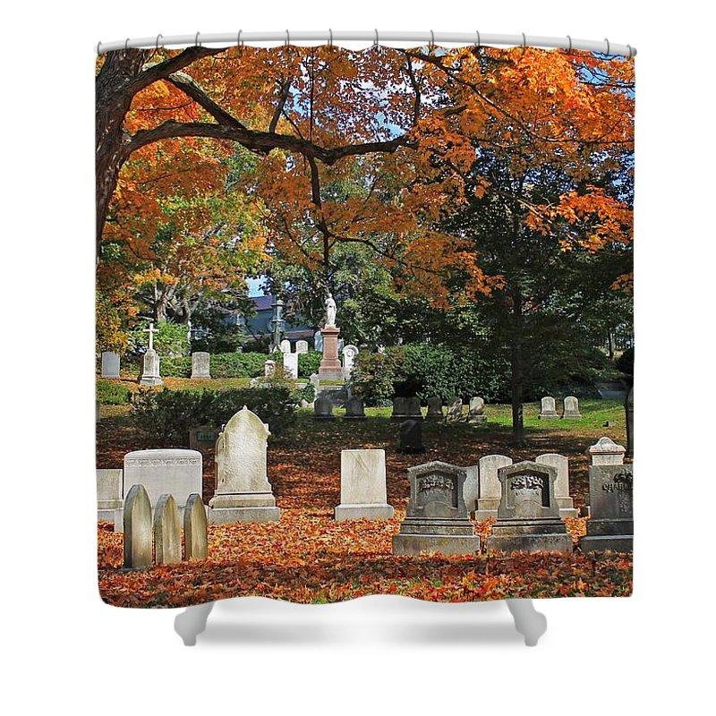 Mt Auburn Cemetery Shower Curtain featuring the photograph Mt Auburn Cemetery 12 by Michael Saunders