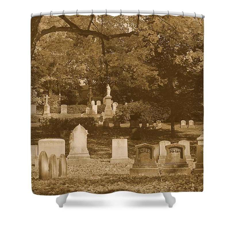 Mt Auburn Cemetery Shower Curtain featuring the photograph Mt Auburn Cemetery 13 Sepia by Michael Saunders