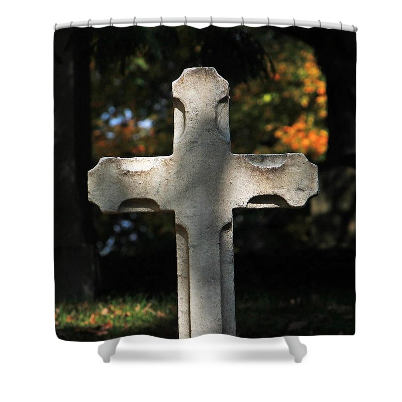 Mt Auburn Cemetery Shower Curtain featuring the photograph Mt Auburn Cemetery 9 by Michael Saunders