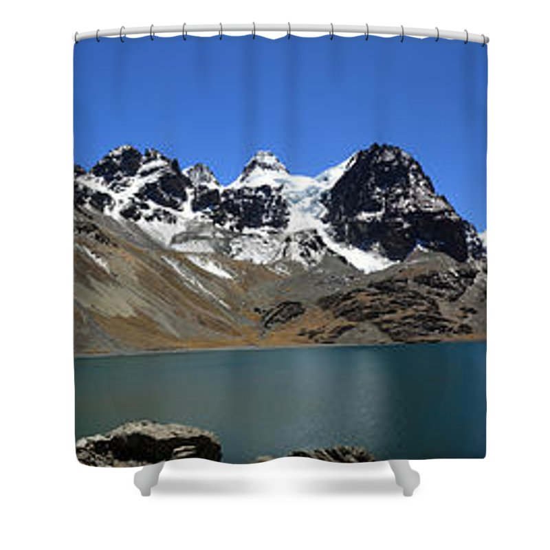 Bolivia Shower Curtain featuring the photograph Mt Condoriri Panorama by James Brunker