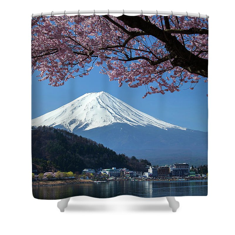 Snow Shower Curtain featuring the photograph Mt Fuji And Cherry Blossom by Mantaphoto