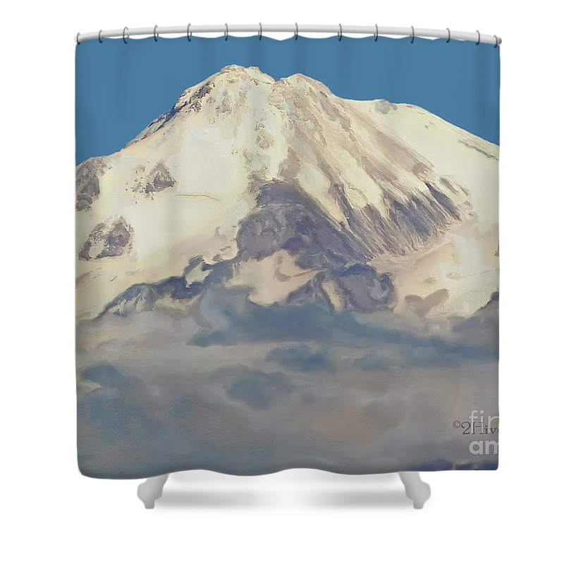 Mt. Shasta Summit Shower Curtain featuring the photograph Mt. Shasta Summit by Methune Hively