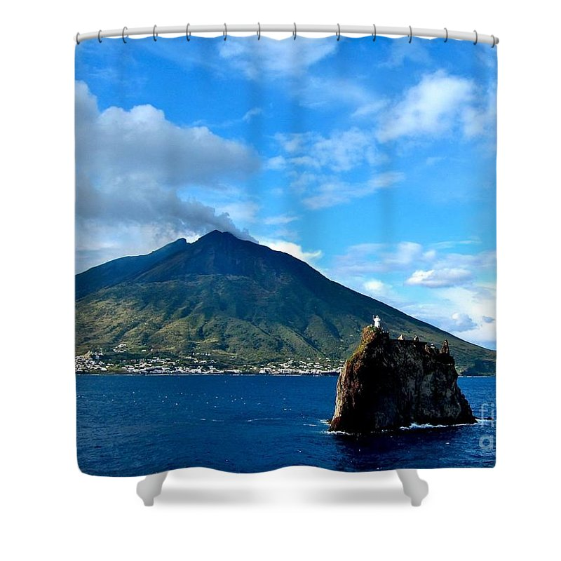 Mt Stromboli Volcano Shower Curtain Featuring The Photograph And Lighthouse By Phyllis