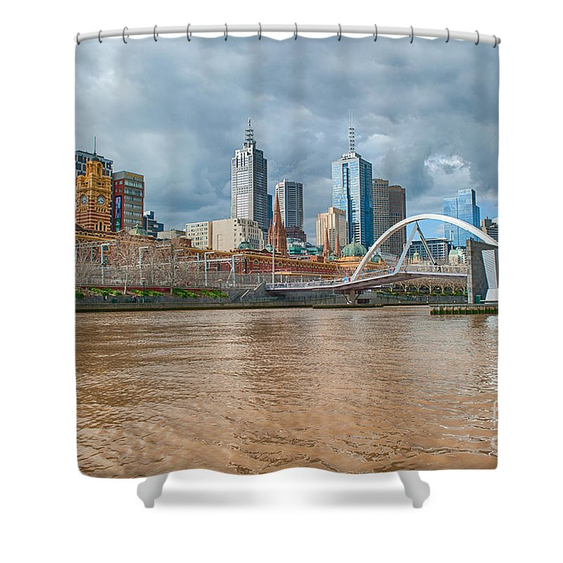 Melbourne Shower Curtain featuring the photograph Muddy River by Ray Warren