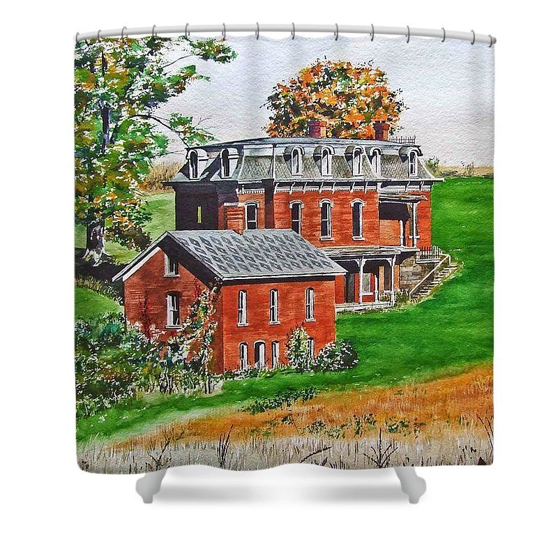 Historic Landmark Shower Curtain featuring the painting Mudhouse Mansion by Rick Mock