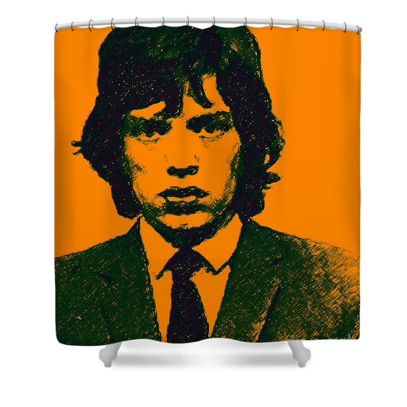 Mick Jaggar Shower Curtain featuring the photograph Mugshot Mick Jagger P0 by Wingsdomain Art and Photography
