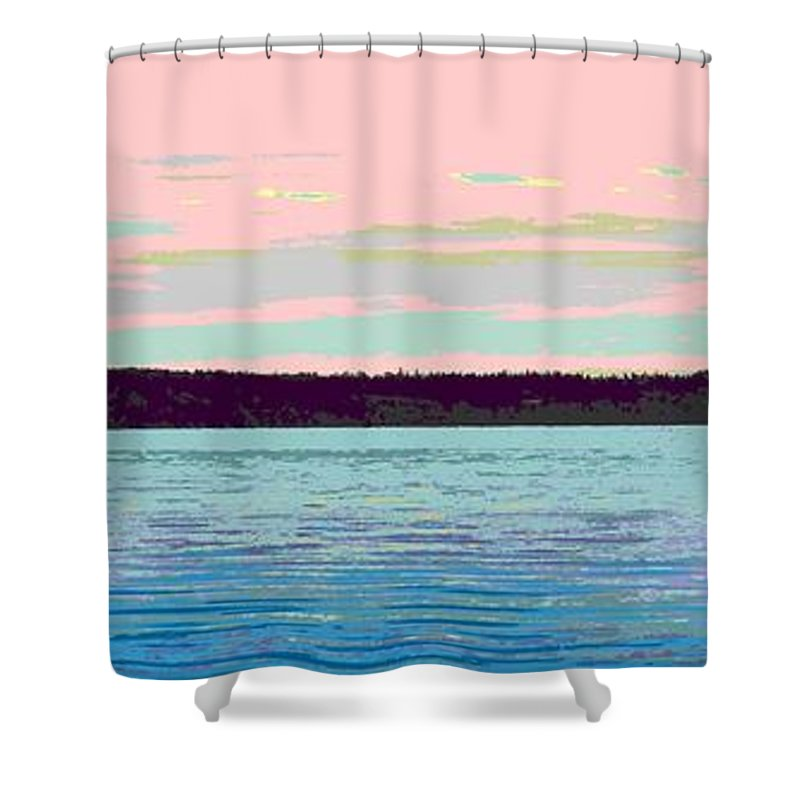 Abstract Shower Curtain featuring the digital art Mukilteo Clinton Ferry Panel 1 Of 3 by James Kramer