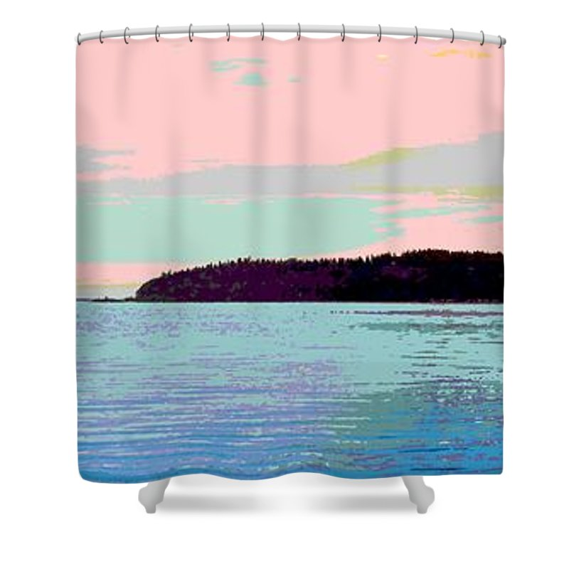 Abstract Shower Curtain featuring the digital art Mukilteo Clinton Ferry Panel 2 Of 3 by James Kramer