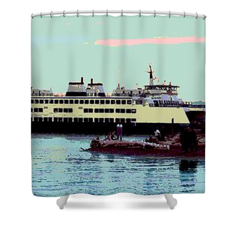 Abstract Shower Curtain featuring the digital art Mukilteo Clinton Ferry panel 3 of 3 by James Kramer