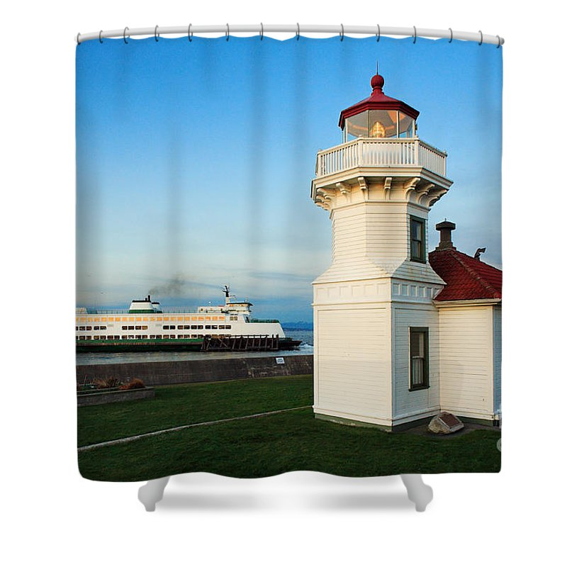 America Shower Curtain featuring the photograph Mukilteo Ferry And Lighthouse by Inge Johnsson