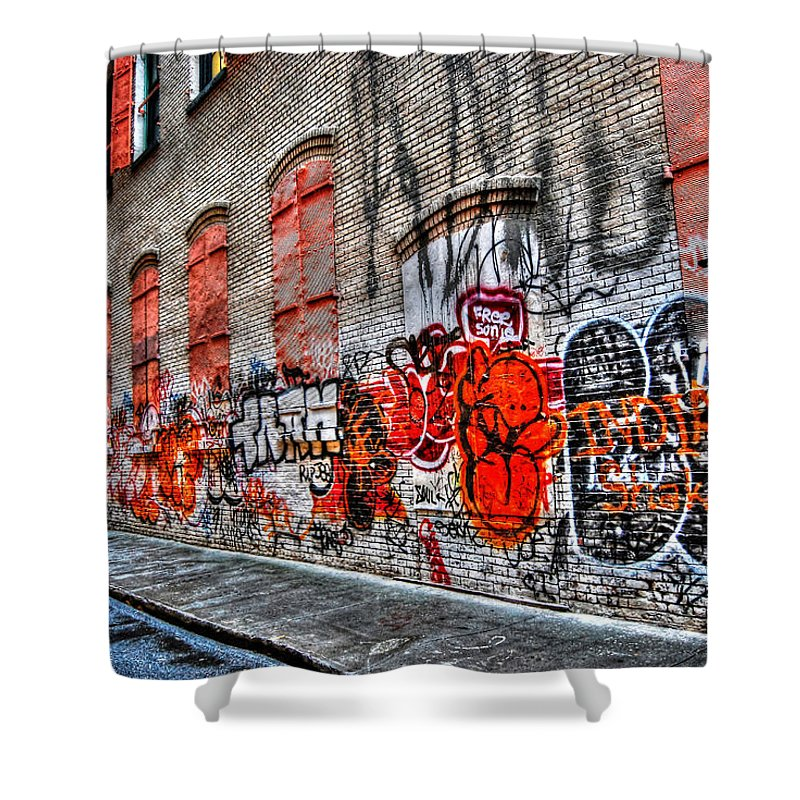 Graffiti Shower Curtain featuring the photograph Mulberry Street Graffiti by Randy Aveille