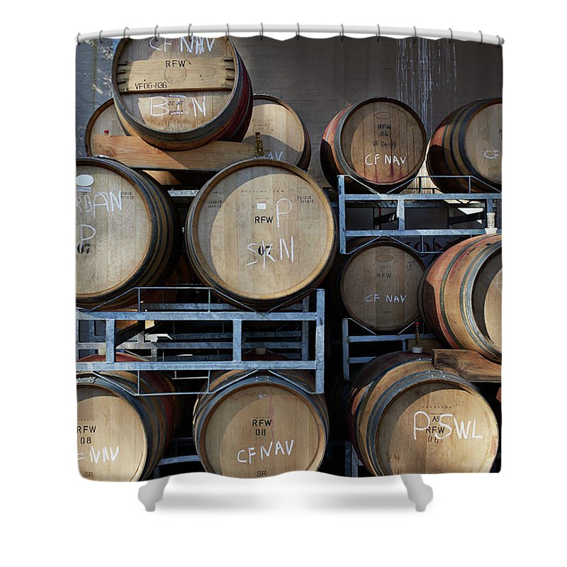 Stellenbosch Shower Curtain featuring the photograph Multible Wooden French Winebarrels On by Klaus Vedfelt