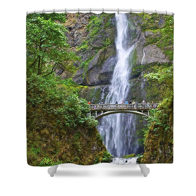 Waterfalls Shower Curtain featuring the photograph Multnomah Falls 4 by SC Heffner