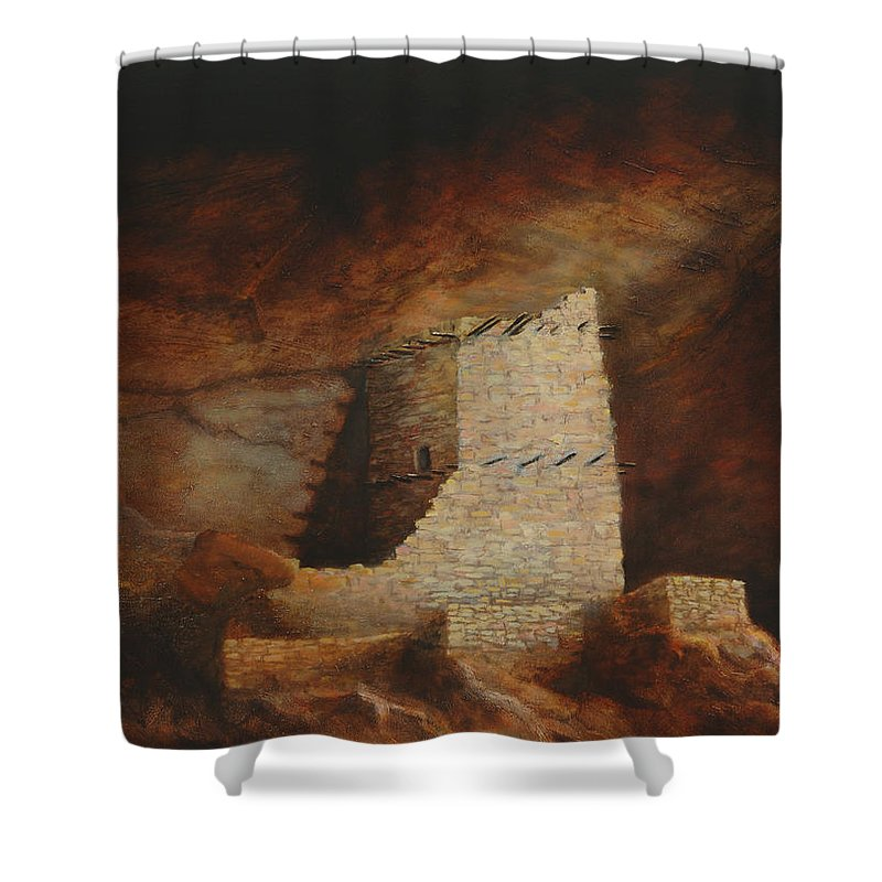 Anasazi Shower Curtain featuring the painting Mummy Cave by Jerry McElroy