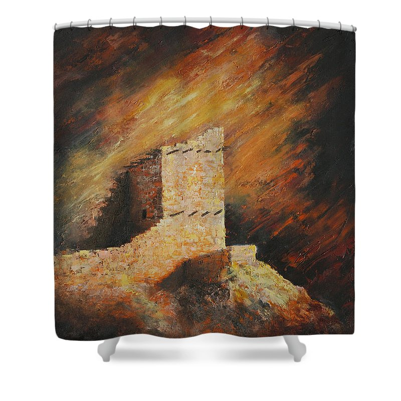 Anasazi Shower Curtain featuring the painting Mummy Cave Ruins 2 by Jerry McElroy