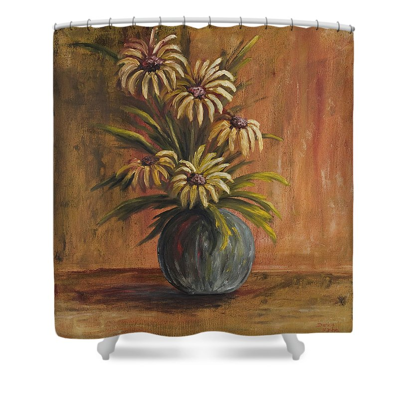 Mums Shower Curtain featuring the painting Mums For Mom by Darice Machel McGuire
